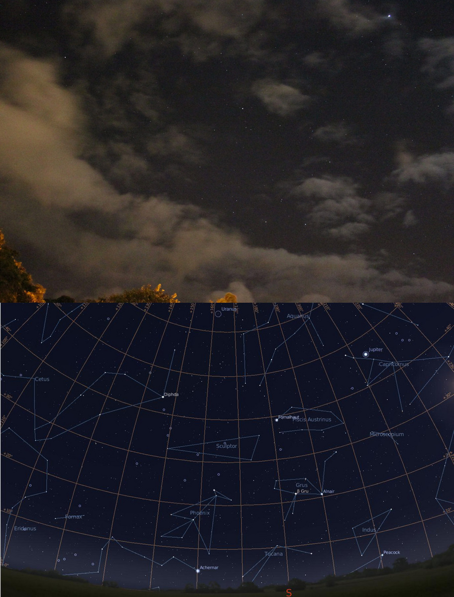 Southern Sky in Honolulu: Jupiter,Fomalhaut, Grus (Crane) constellation ホノルルの南天:木星、フォーマルハウト、つる座