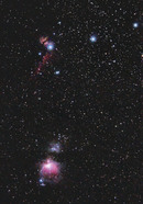 Orion and Horsehead Nebula without tracking (on tripod)